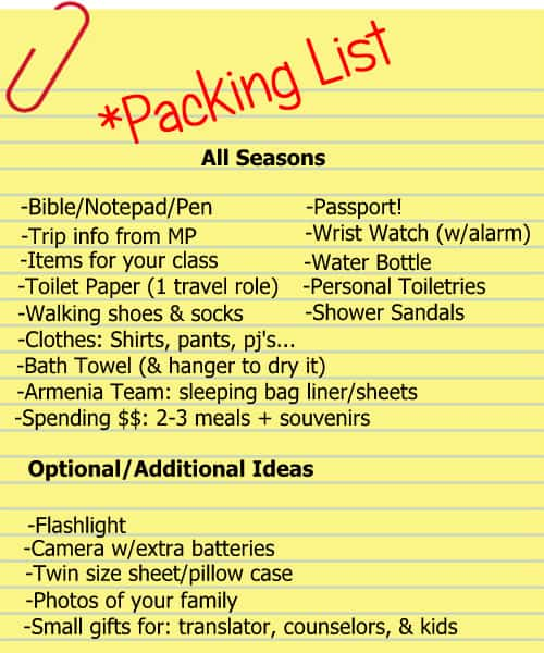 Mission Trips Packing List