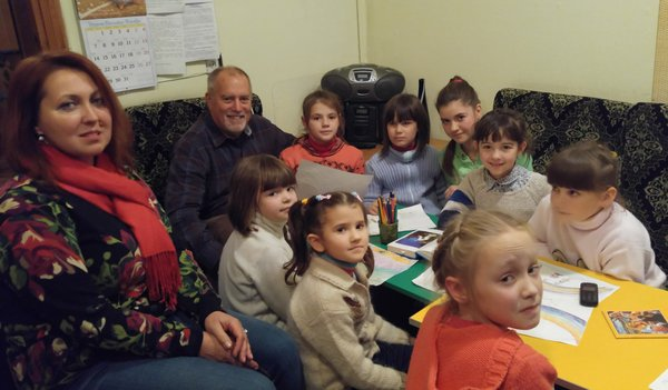 Kids studying bible stories at Ivankiv Learning Center
